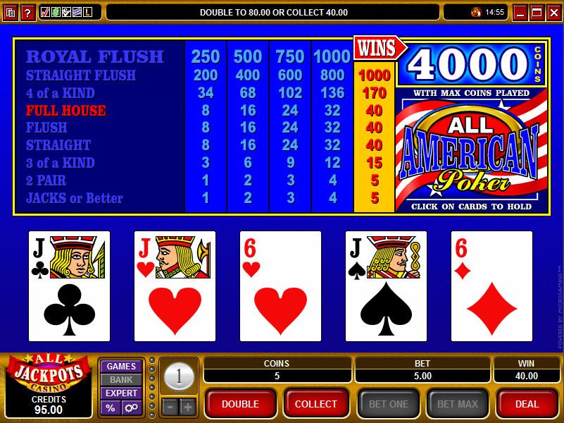 all_american video poker spelen