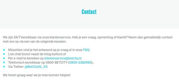 Betcity klantenservice