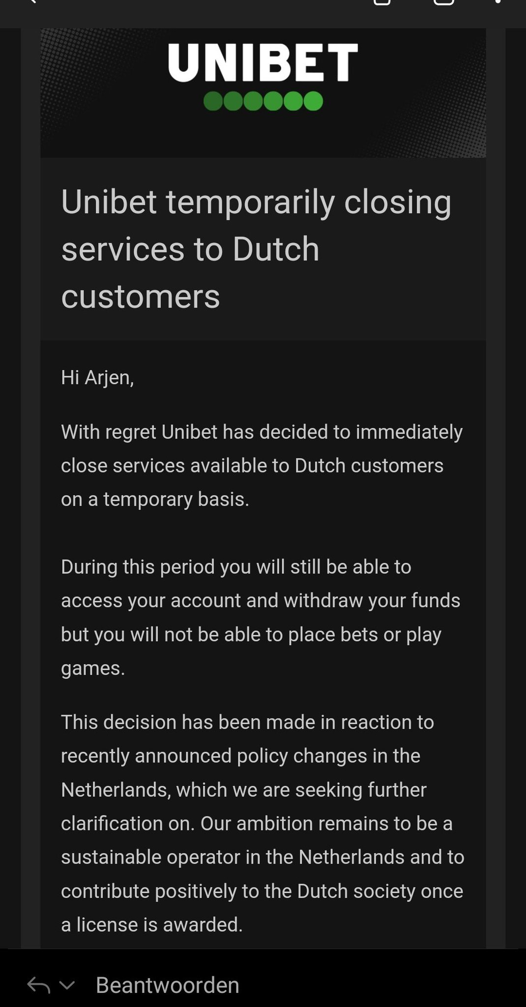 Unibet niet toegankelijk in NL