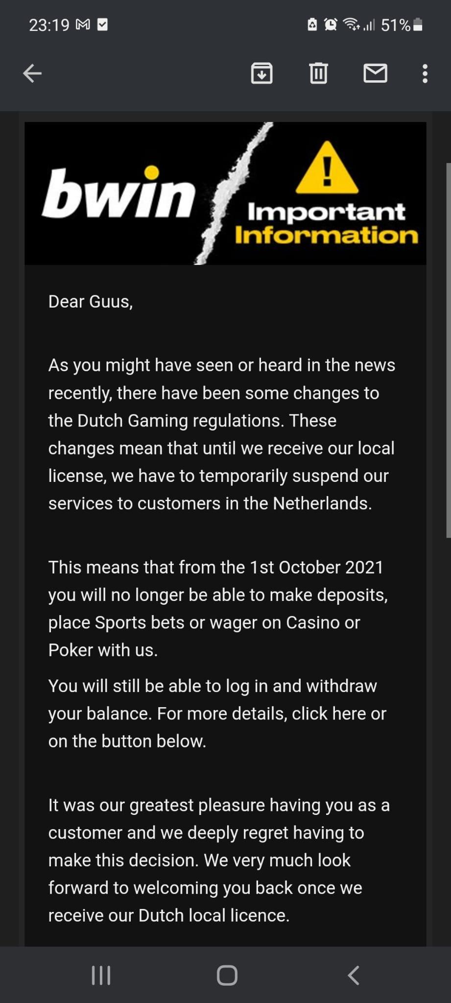 Bwin niet toegangelijk in NL